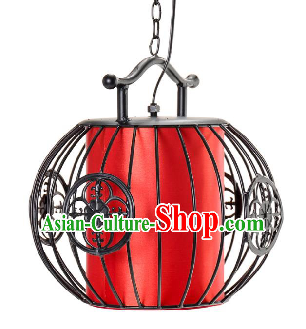 Top Grade Handmade Black Birdcage Palace Lanterns Traditional Chinese Iron Lantern Ancient Ceiling Lanterns