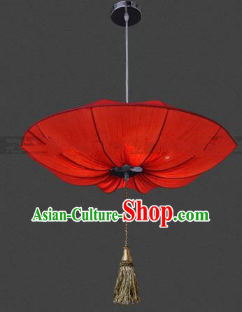 Top Grade Handmade Red Lotus Leaf Lanterns Traditional Chinese Palace Lantern Ancient Ceiling Lanterns