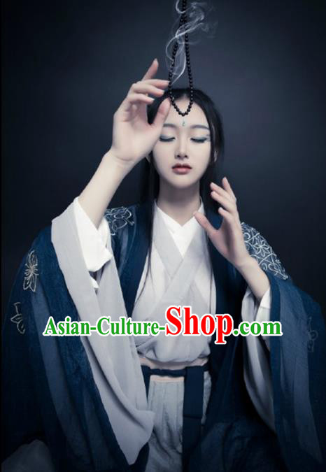 Ancient Chinese Jin Dynasty Palace Lady Embroidered Costume Complete Set for Women
