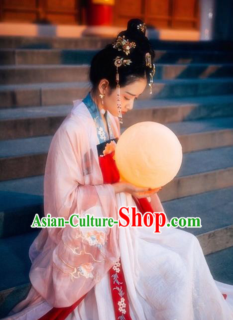 Ancient Chinese Tang Dynasty Imperial Consort Costume, China Traditional Embroidered Dress Clothing for Women