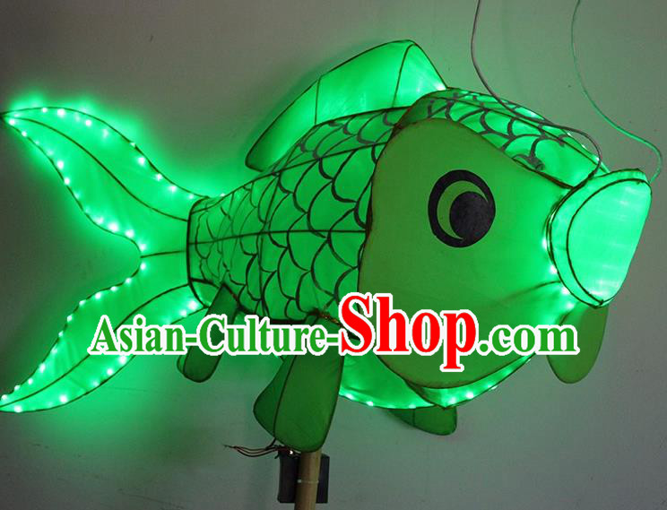 China Handmade Green Fish Lanterns Traditional Chinese New Year Palace Lantern Ancient Lanterns