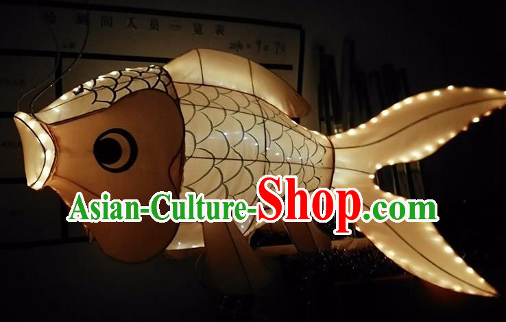China Handmade Yellow Fish Lanterns Traditional Chinese New Year Palace Lantern Ancient Lanterns