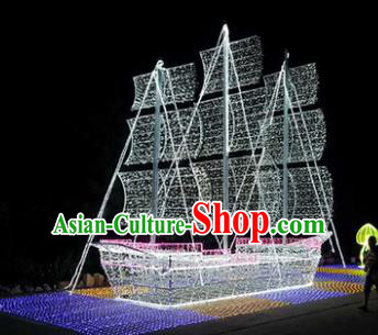 Traditional Christmas Sailing Boat Light Show Decorations Lamps Stage Display Lamplight LED Lanterns