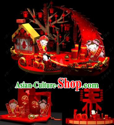 Handmade China Spring Festival Arrangement Archway Decorations Lights Lanterns Stage Display Lamp