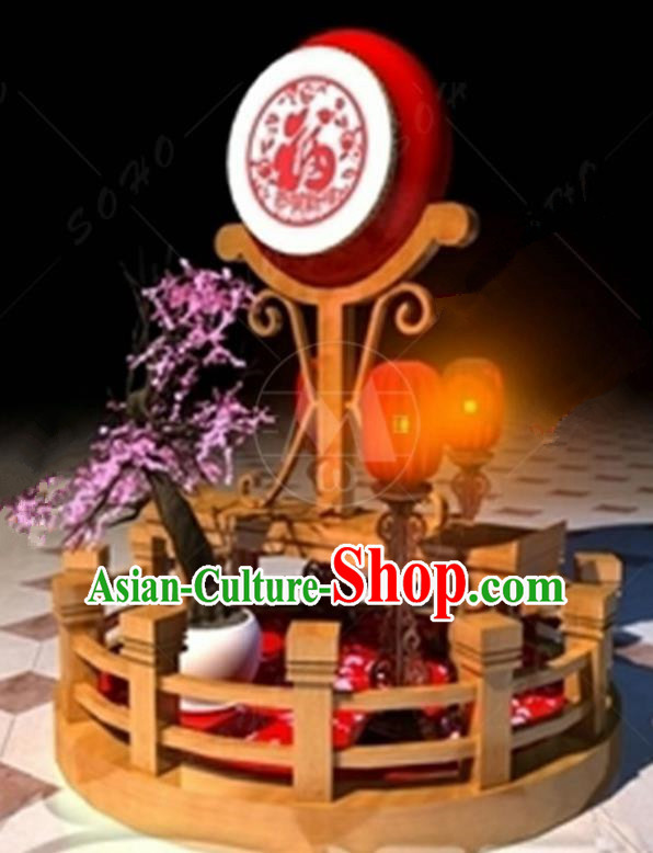 Handmade China Spring Festival Lamp Drum Lamplight Decorations Stage Display Lanterns