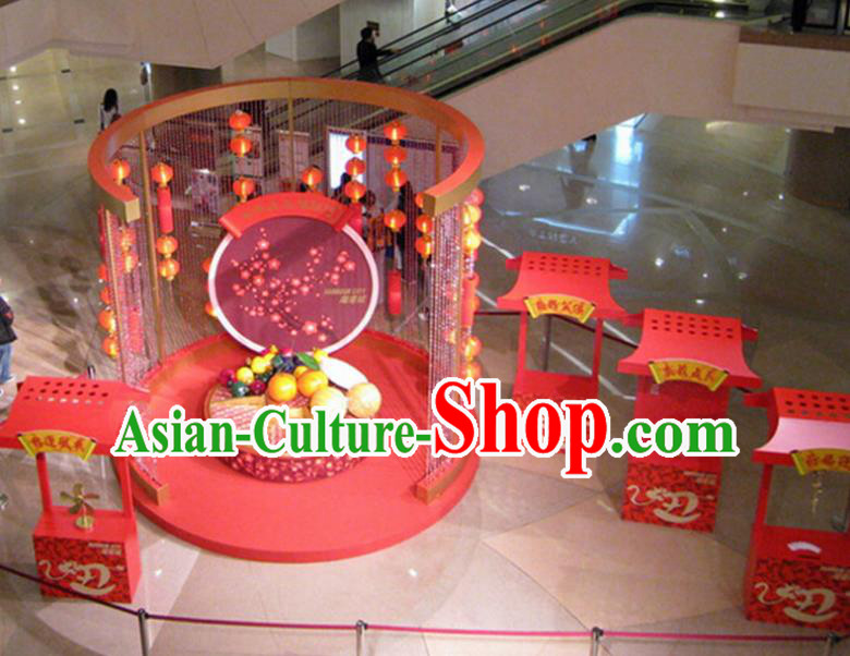 Handmade China Traditional Spring Festival Decorations Lanterns Arrangement Display Cabinets Lamp
