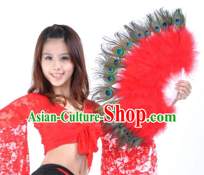 Indian Bollywood Belly Dance Fans Red Feather Folding Fans for Women