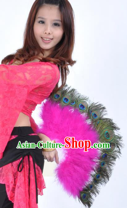 Indian Bollywood Belly Dance Fans Rosy Feather Folding Fans for Women