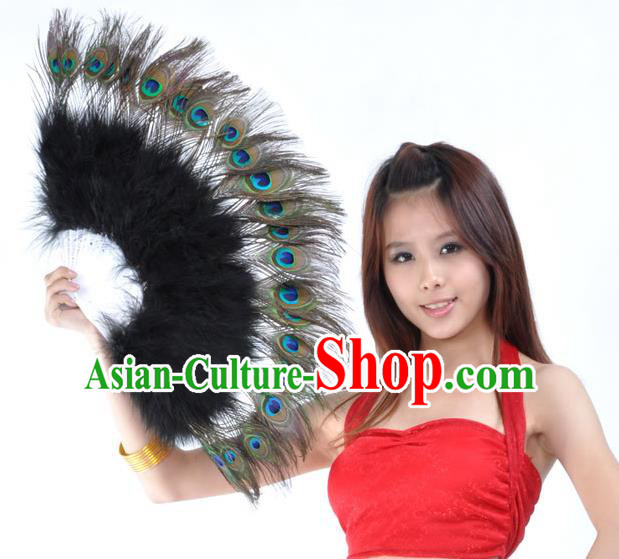 Indian Bollywood Belly Dance Fans Black Feather Folding Fans for Women