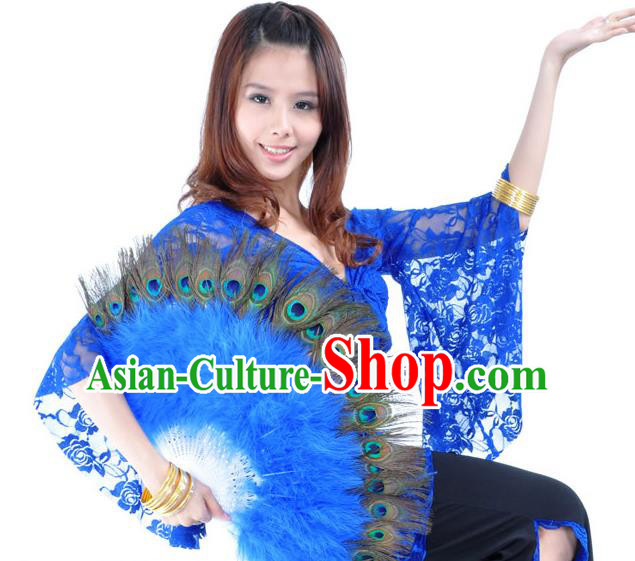 Indian Bollywood Belly Dance Fans Deep Blue Feather Folding Fans for Women