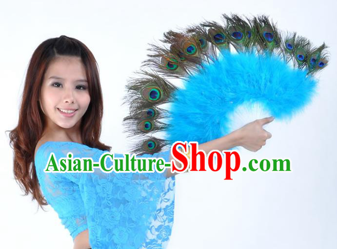 Indian Bollywood Belly Dance Fans Blue Feather Folding Fans for Women
