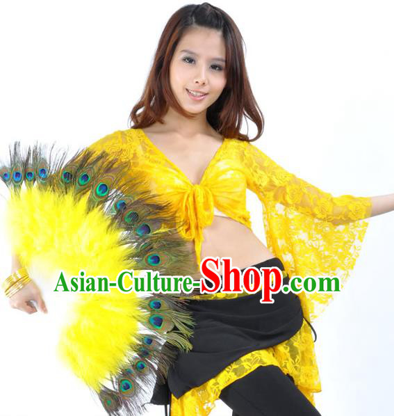 Indian Bollywood Belly Dance Fans Yellow Feather Folding Fans for Women