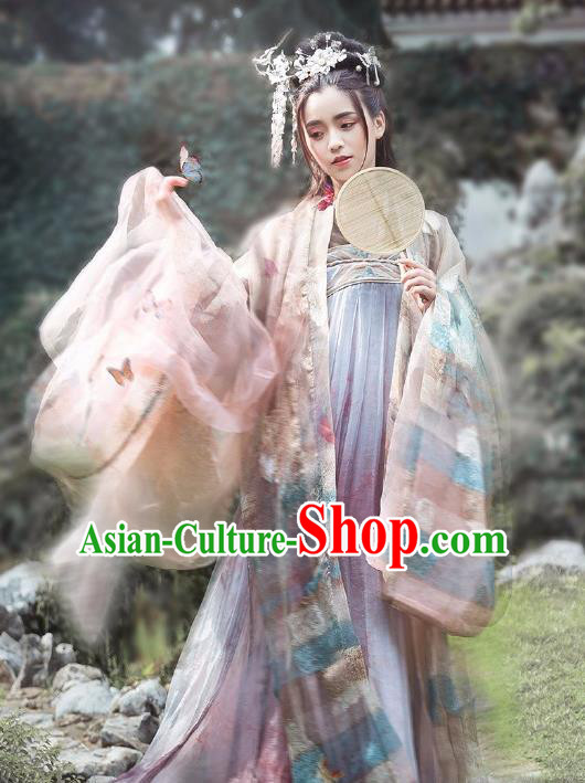 Chinese Ancient Tang Dynasty Princess Hanfu Dress Palace Lady Embroidered Costume Complete Set