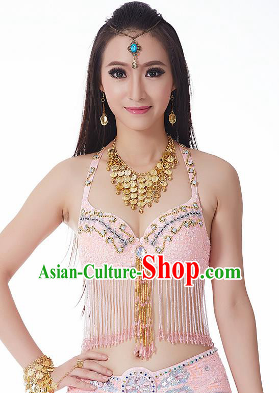 Indian National Belly Dance Tassel Pink Brassiere Bollywood Oriental Dance Costume for Women
