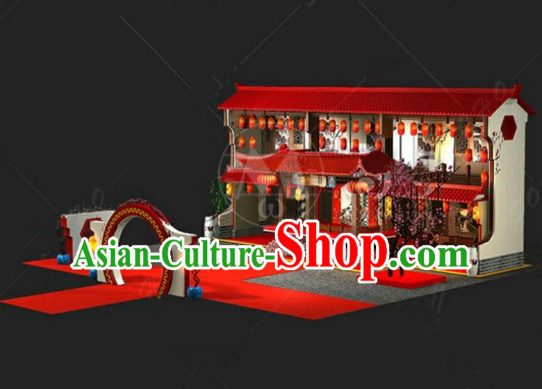 China Traditional Courtyard New Year Lamp Lamplight Decorations Red Stage Display Lanterns