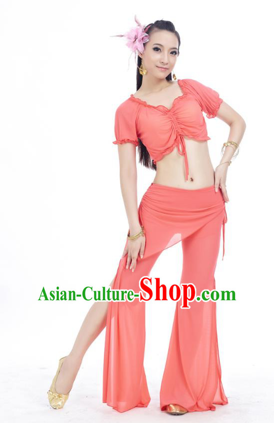 Indian Traditional Belly Dance Water Red Costume India Oriental Dance Clothing for Women