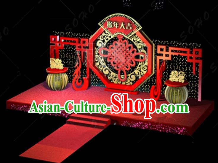 China Traditional New Year Lamp Decorations Chinese Knot Lamplight Stage Display Lanterns