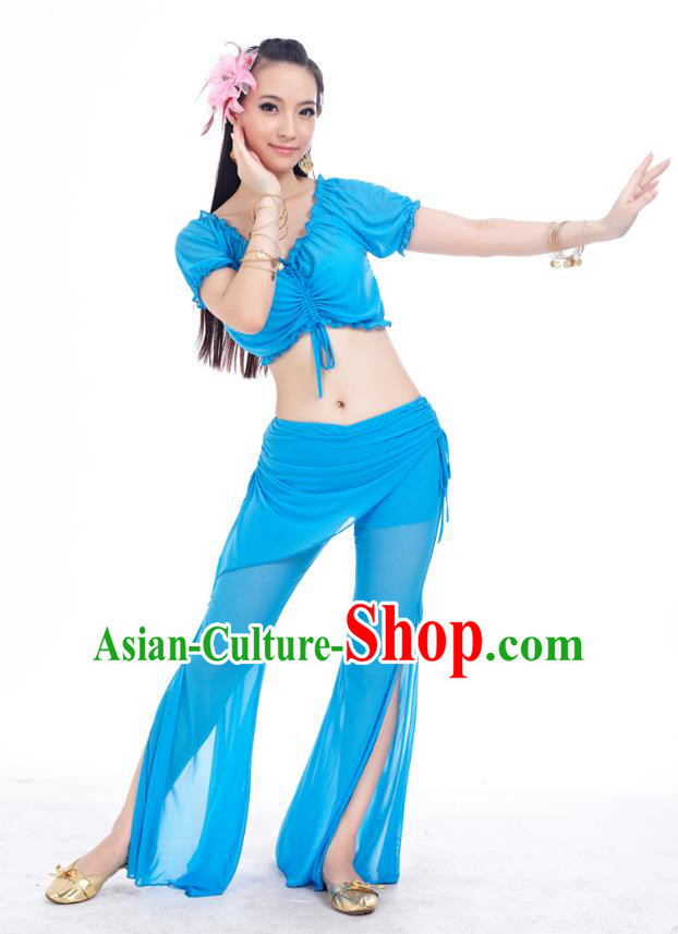 Indian Traditional Belly Dance Blue Costume India Oriental Dance Clothing for Women
