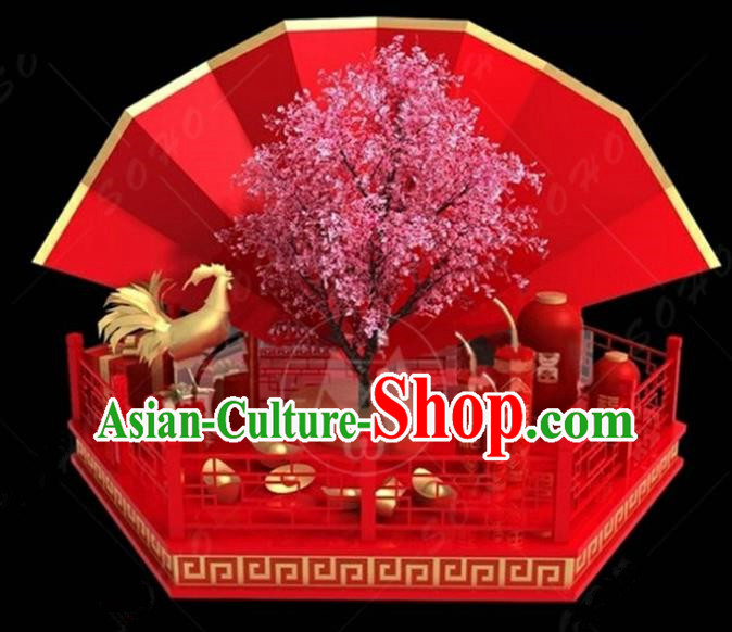 China Traditional Rooster Year Lamp Decorations Chinese Knot Lamplight Stage Display Lanterns