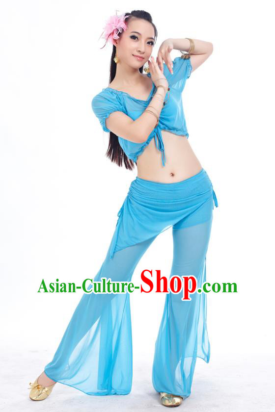 Indian Traditional Belly Dance Light Blue Costume India Oriental Dance Clothing for Women