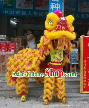 Chinese Traditional Parade Yellow Wool Lion Head Professional Lion Dance Costumes Complete Set