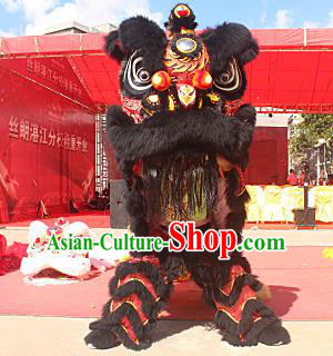 Top Grade Chinese Traditional Black Wool Lion Head Professional Lion Dance Costumes Complete Set