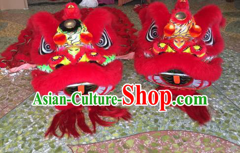 Top Grade Chinese Traditional Red Lion Head Professional Lion Dance Costumes Complete Set