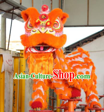 Chinese Traditional Spring Festival Orange Wool Lion Head Professional Lion Dance Costumes Complete Set