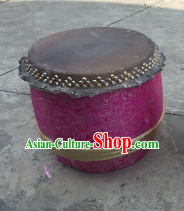 China Traditional Lion Dance Instruments Rosy Cowhide Drum Wood Lion Drums
