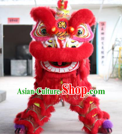 Top Grade Chinese Traditional Red Lion Head Professional Wool Lion Dance Costumes Complete Set