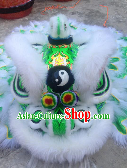 Chinese Professional Lion Dance Costumes Celebration and Parade Wool Green Lion Head Complete Set