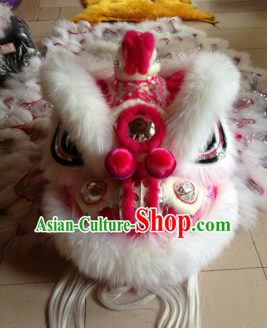 Chinese Professional Lion Dance Costumes Celebration and Parade Wool Pink Lion Head Complete Set
