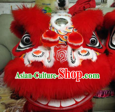 Chinese Traditional Professional Red Wool Lion Dance Costumes Celebration and Parade Lion Head Complete Set