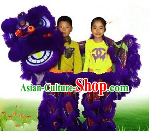 Chinese Traditional Children Lion Dance Costumes Professional Celebration Parade Purple Wool Lion Head Complete Set