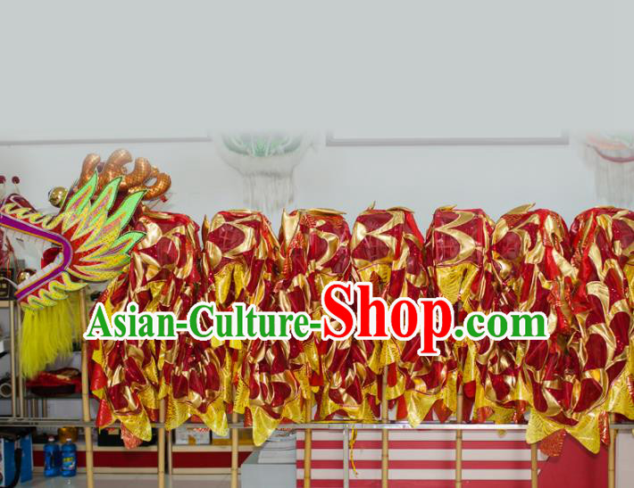 Chinese Professional Parade Red Dragon Dance Costumes Lantern Festival Celebration Dragon Props Complete Set