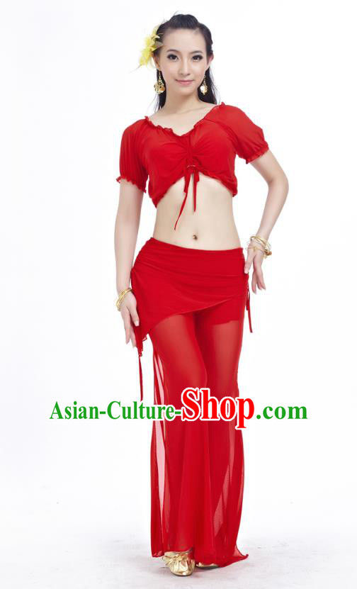 Indian Traditional Belly Dance Red Costume India Oriental Dance Clothing for Women
