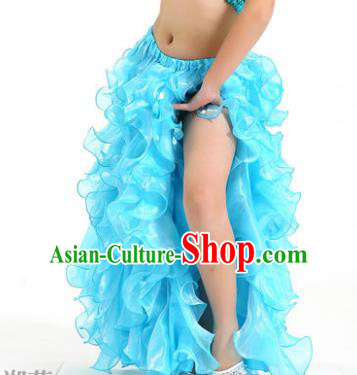 Traditional Indian Belly Dance Blue Skirts Asian India Oriental Dance Costume for Women
