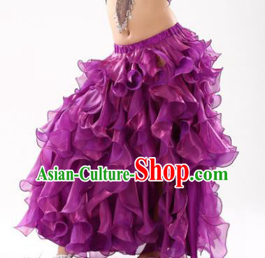 Traditional Indian Belly Dance Purple Skirts Asian India Oriental Dance Costume for Women