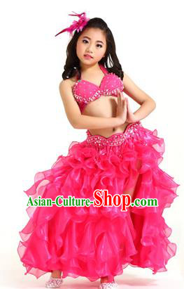 Traditional Indian Belly Dance Rosy Dress Asian India Oriental Dance Costume for Kids