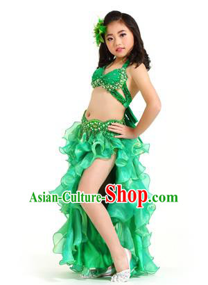 Traditional Indian Belly Dance Green Dress Asian India Oriental Dance Costume for Kids