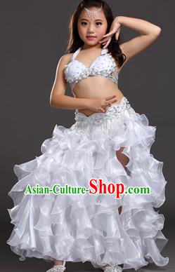 Traditional Indian Belly Dance White Dress Asian India Oriental Dance Costume for Kids