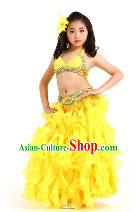 Traditional Indian Belly Dance Yellow Dress Asian India Oriental Dance Costume for Kids