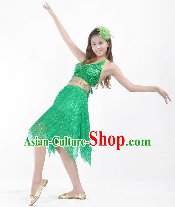 Traditional Indian Belly Dance Green Sequin Clothing India Oriental Dance Costume for Women