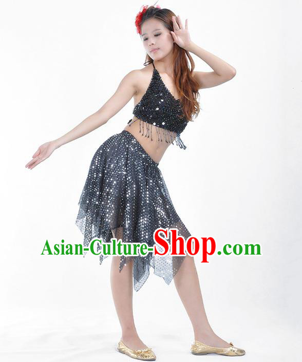 Traditional Indian Belly Dance Black Sequin Clothing India Oriental Dance Costume for Women