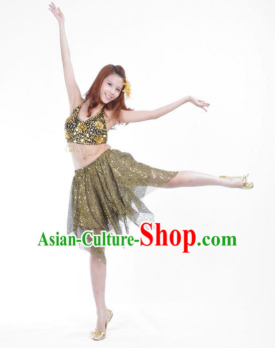 Traditional Indian Belly Dance Golden Sequin Clothing India Oriental Dance Costume for Women