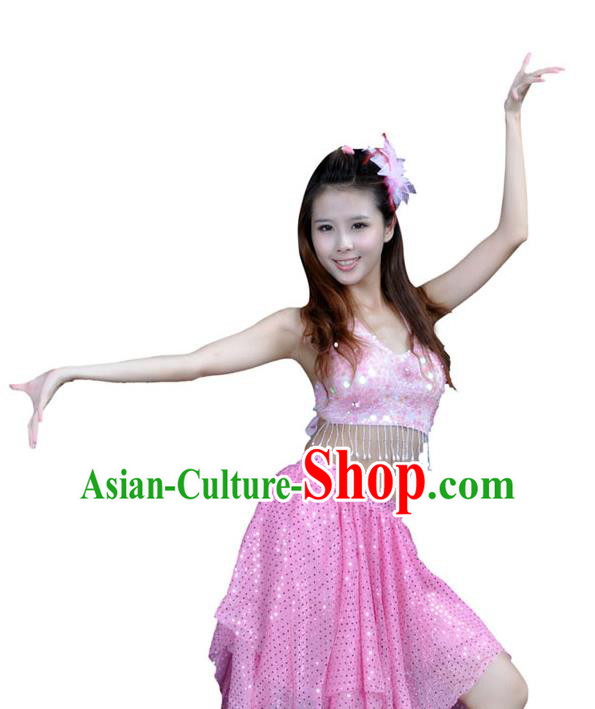 Traditional Indian Belly Dance Pink Sequin Clothing India Oriental Dance Costume for Women