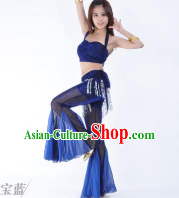 Traditional Indian Belly Dance Training Clothing India Oriental Dance Royalblue Outfits for Women