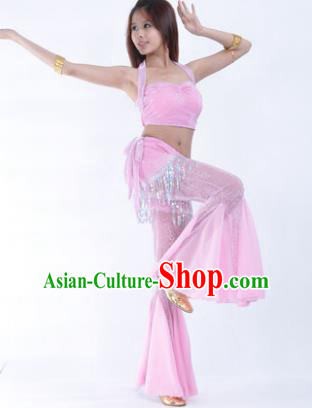 Traditional Indian Belly Dance Training Clothing India Oriental Dance Pink Outfits for Women