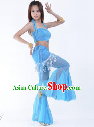 Traditional Indian Belly Dance Training Clothing India Oriental Dance Blue Outfits for Women