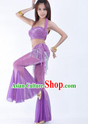 Traditional Indian Belly Dance Training Clothing India Oriental Dance Lilac Outfits for Women